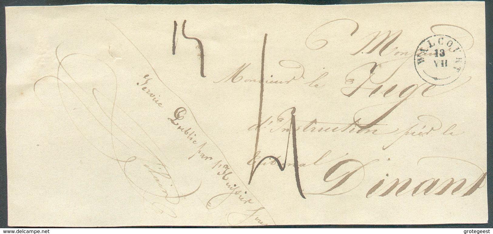 Devant De BANDE D'IMPRIME En Service (Service Public Par L'Huissier) ; Càd Type 18 WALCOURT 13-VII Vers Dinant, Taxe De - 1830-1849 (Belgique Indépendante)