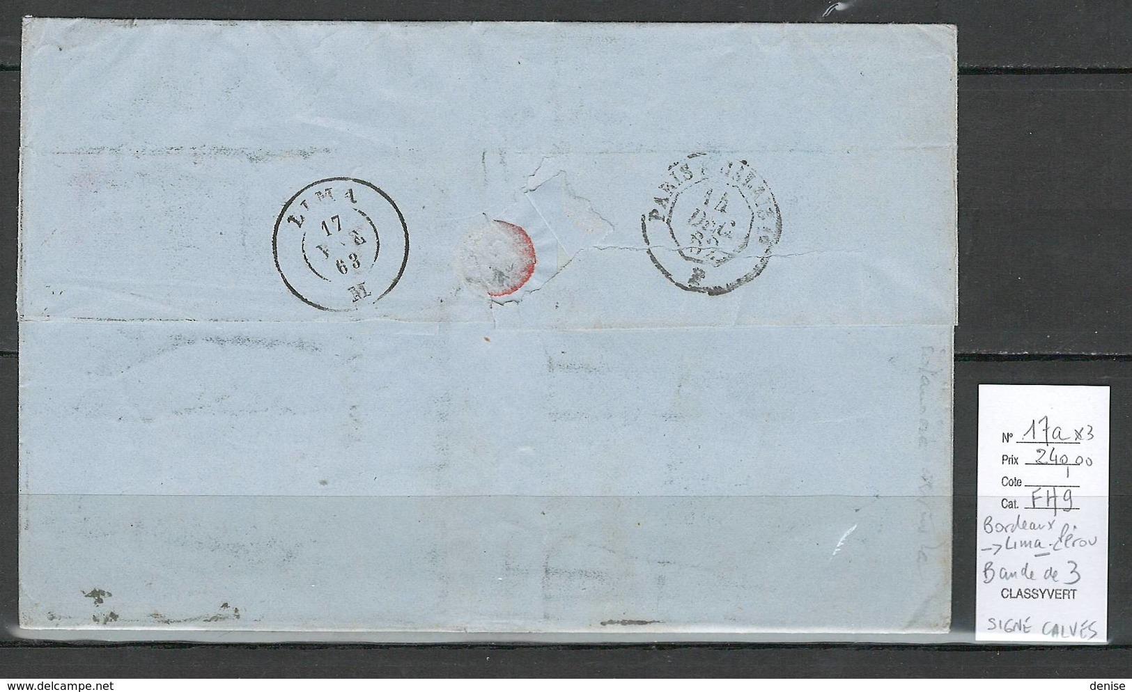 France - Lettre De Bordeaux Pour Lima - PEROU - SIGNEE CALVES - 1862 - - Postmark Collection (Covers)