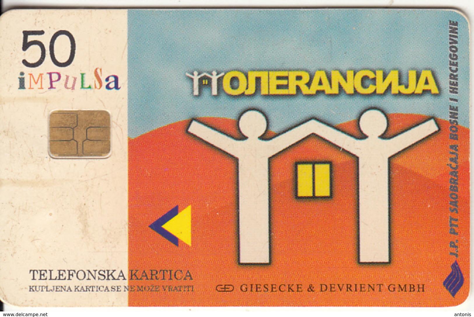 BOSNIA - 2 People, Children Painting(50 Units), Tirage 50000, 11/98, Used - Bosnia