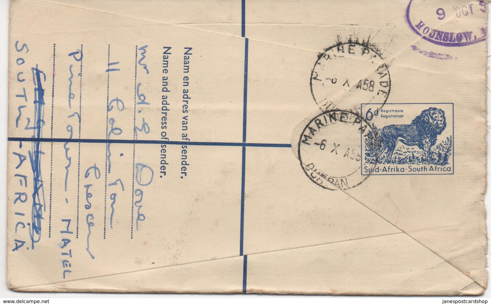 REGISTERED LETTER COVER FROM DURBAN - SOUTH AFRICA - STAMP MISSING - Africa (Other)