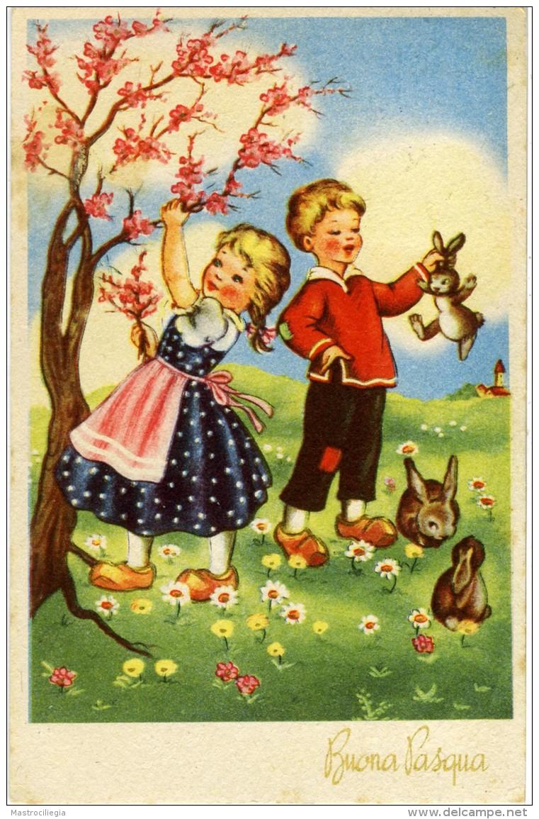 BUONA PASQUA  Bambino Con Coniglietto  Bambina Raccoglie Ramoscelli Di Pesco In Fiore  Coniglietti Fiori Zoccoli - Pasqua