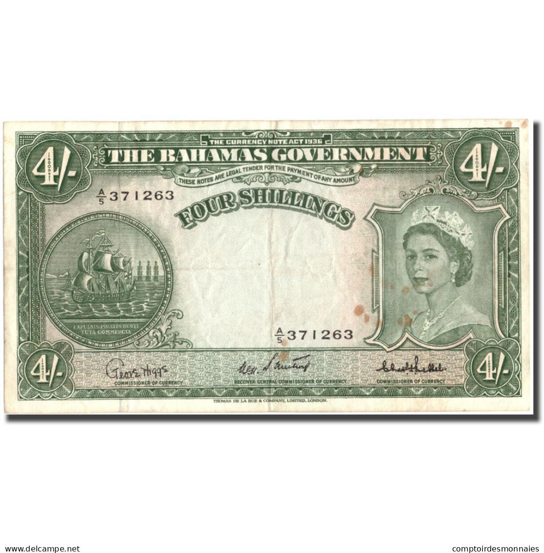 Billet, Bahamas, 4 Shillings, Undated (1953), KM:13c, TTB - Bahamas
