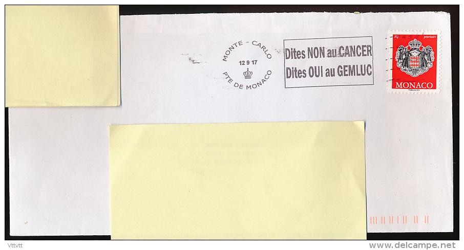 FLAMME, MONACO (12-9-2017) Dites NON Au CANCER, Dites OUI Au GEMLUC, Sur Lettre,  Postmark On Cover - Poststempel - Freistempel