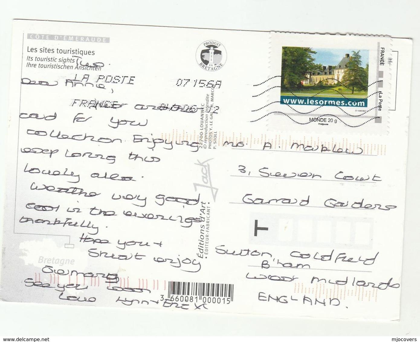 2012 FRANCE COVER Stamps LESORMES RESORT INTERNET (postcard La Cote D'Emeraude) To GB Computing Computer - France