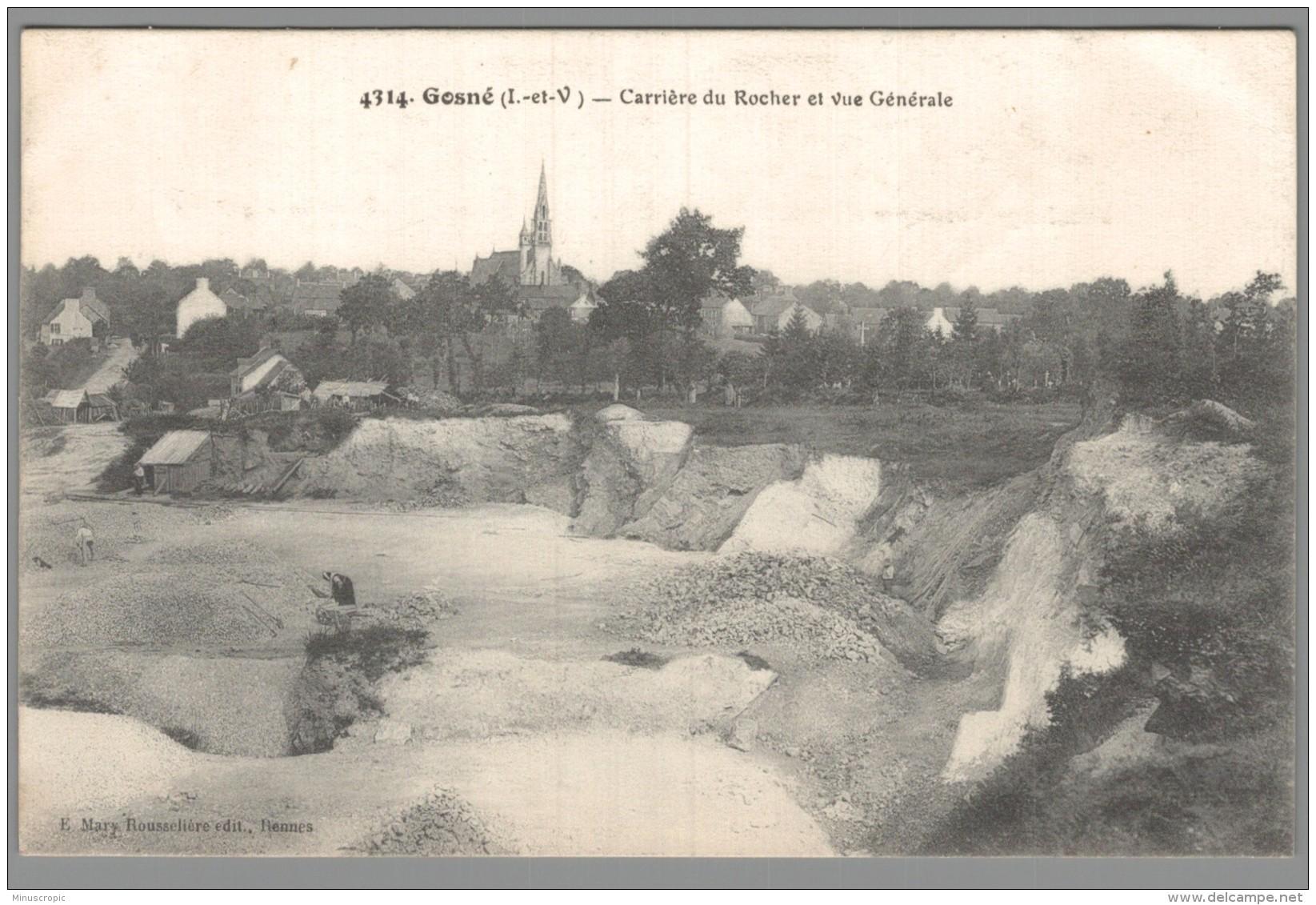 CPA 35 - Gosné - Carrière Du Rocher Et Vue Générale - France