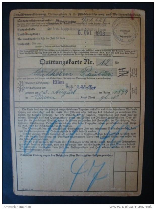 1937, Essen, Krupp Stahlwerk, Versicherungskarte Mit 49 Quittungsmarken !! - Briefe U. Dokumente