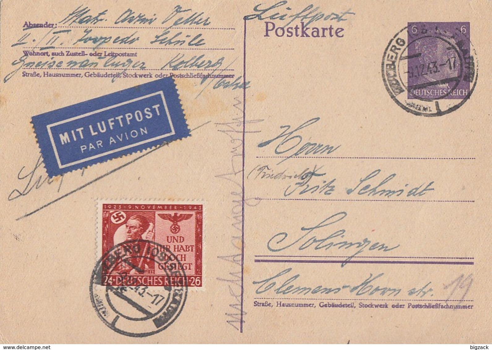 DR Ganzsache Luftpost Zfr. Minr.863 Kolberg 9.12.43 - Deutschland