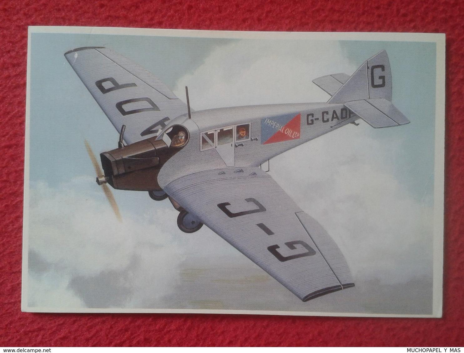 POSTAL POST CARD CARTE POSTALE PLANE AIRPLANE AVIÓN PLANES AVIONES JUNKERS F 13 AIRCRAFT 1910s VER FOTO/S Y DESCRIPCIÓN - Aviones
