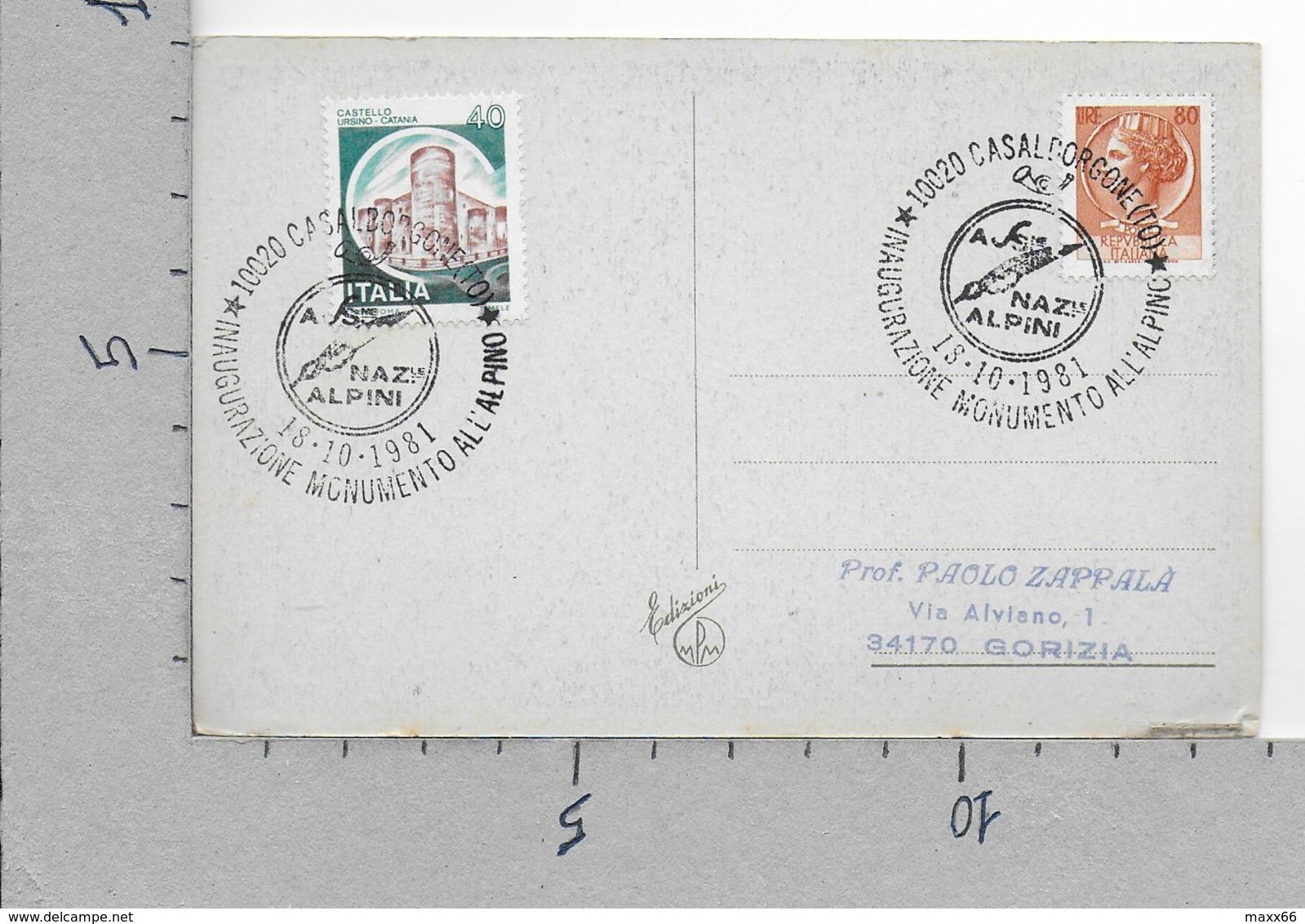 CARTOLINA VG ITALIA - BUON NATALE Edizioni MPM - 9 X 14 - 1981 CASALBORGONE INAUGURAZIONE MONUMENTO ALPINO - Natale