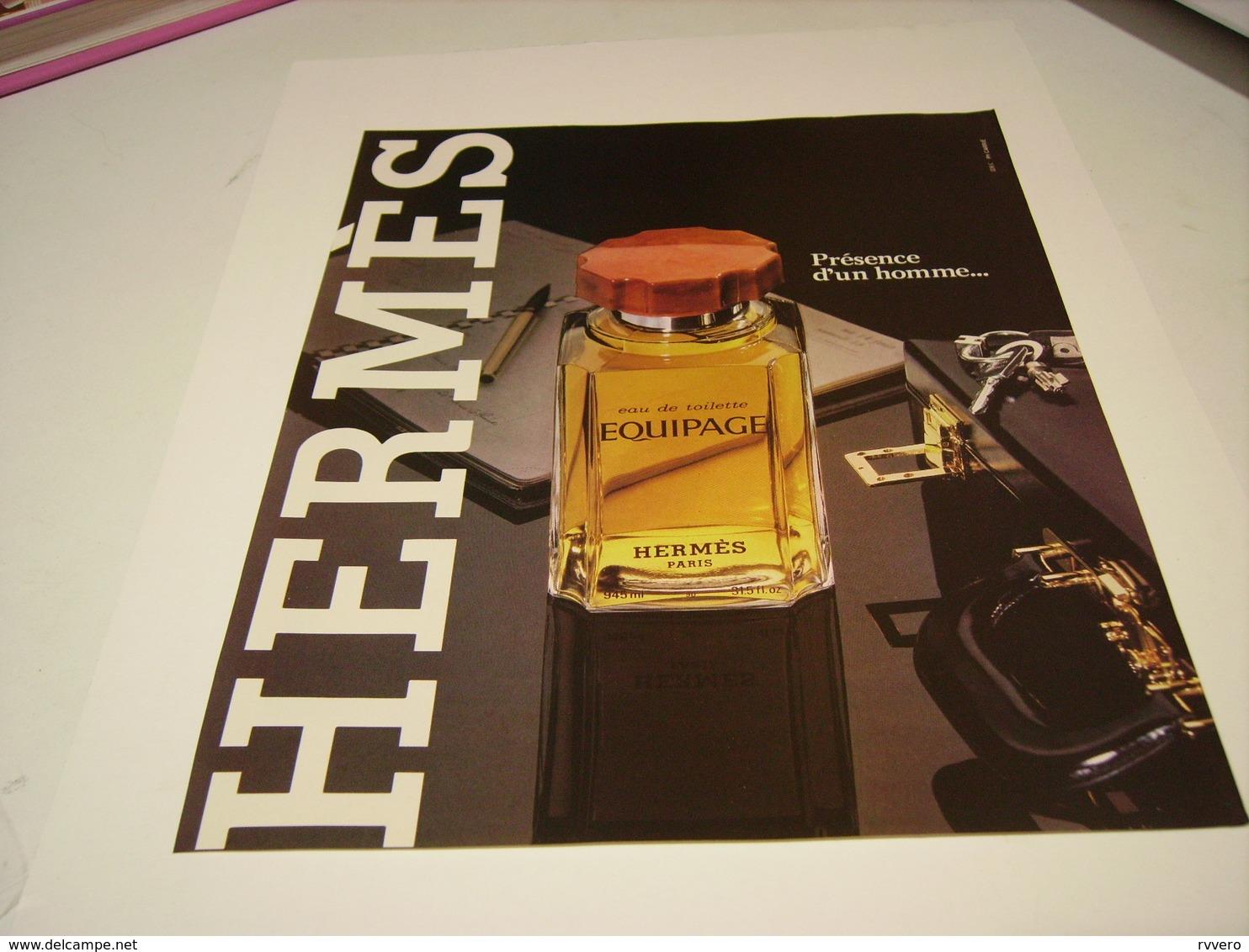 ANCIENNE AFFICHE  PUBLICITE PARFUM EQUIPAGE  DE HERMES 1981 - Parfums & Beauté