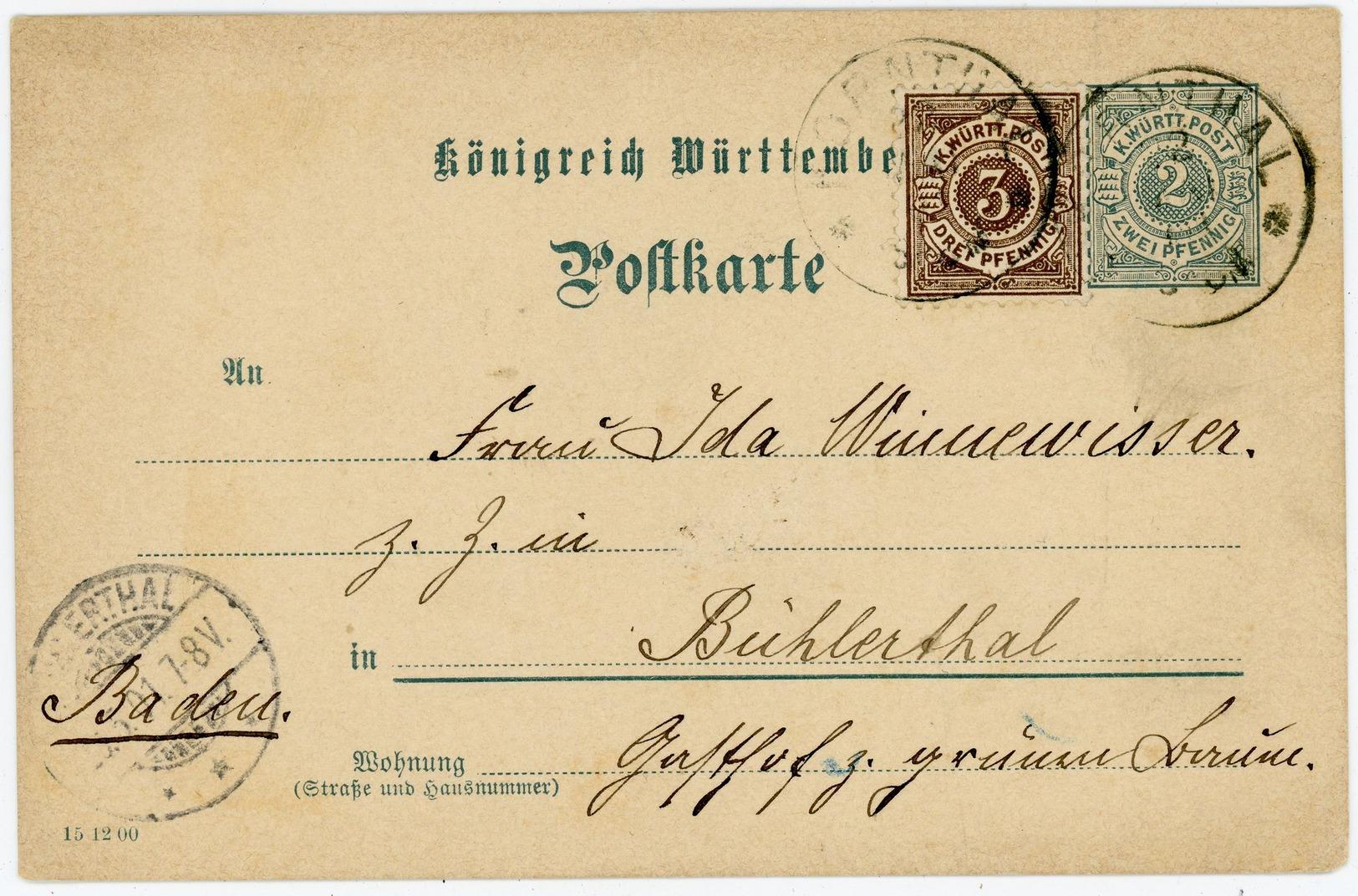 P 41 Mit Zusatzfrankatur Nach Bühlertal - Wuerttemberg