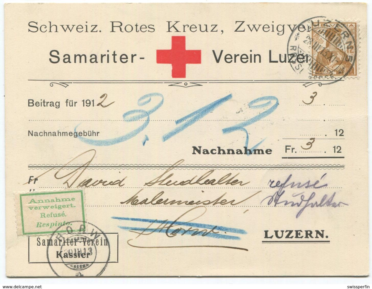 1918 - Rotes Kreuz - 12 Rp. Helvetia Brustbild Auf Nachnahmebeleg Von LUZERN - Lettres & Documents