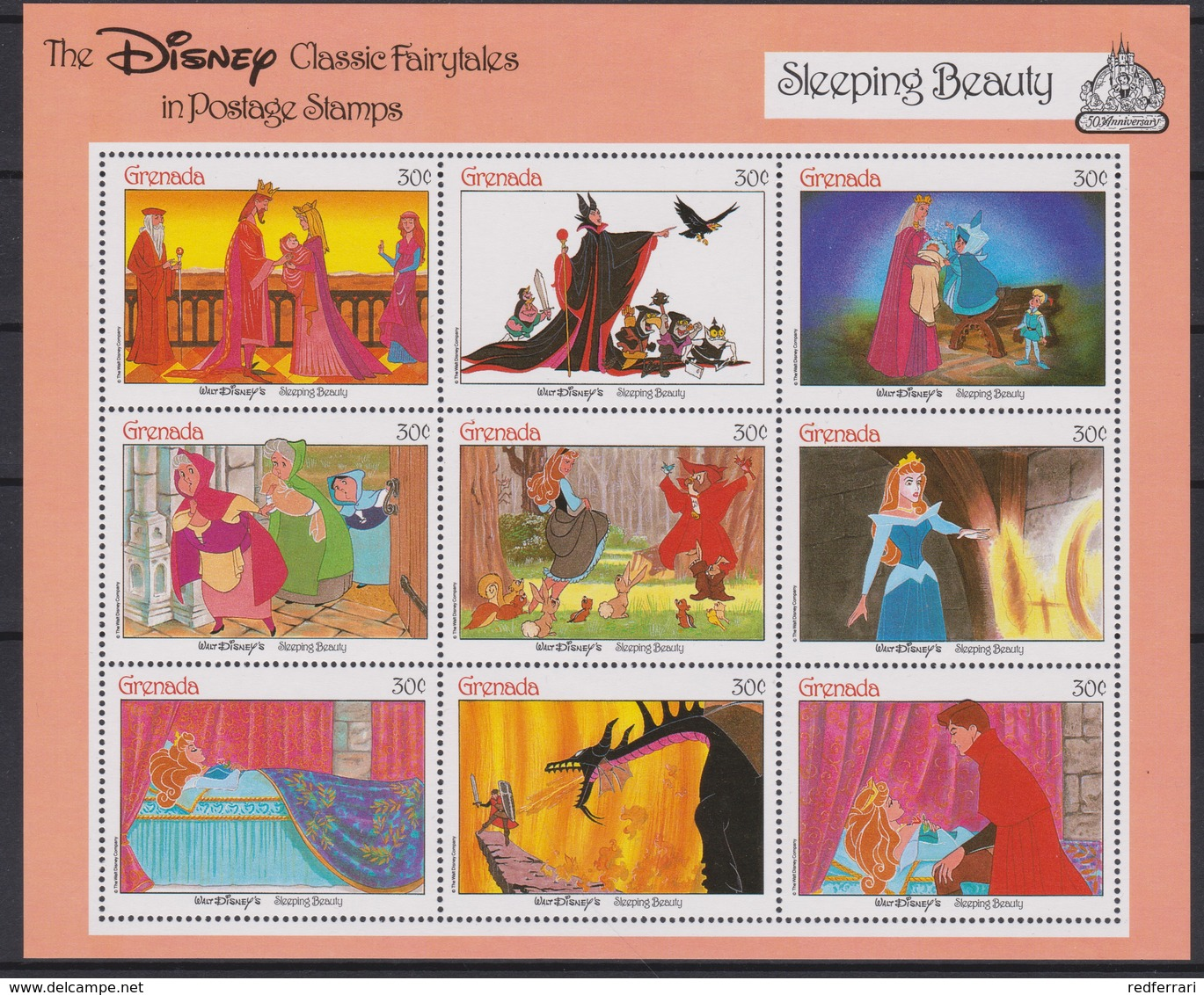2228  WALT DISNEY - GRANADA ( The Disney Classic Fairytales In Postage Stamps ) Snow White / Peter Pan . - Disney
