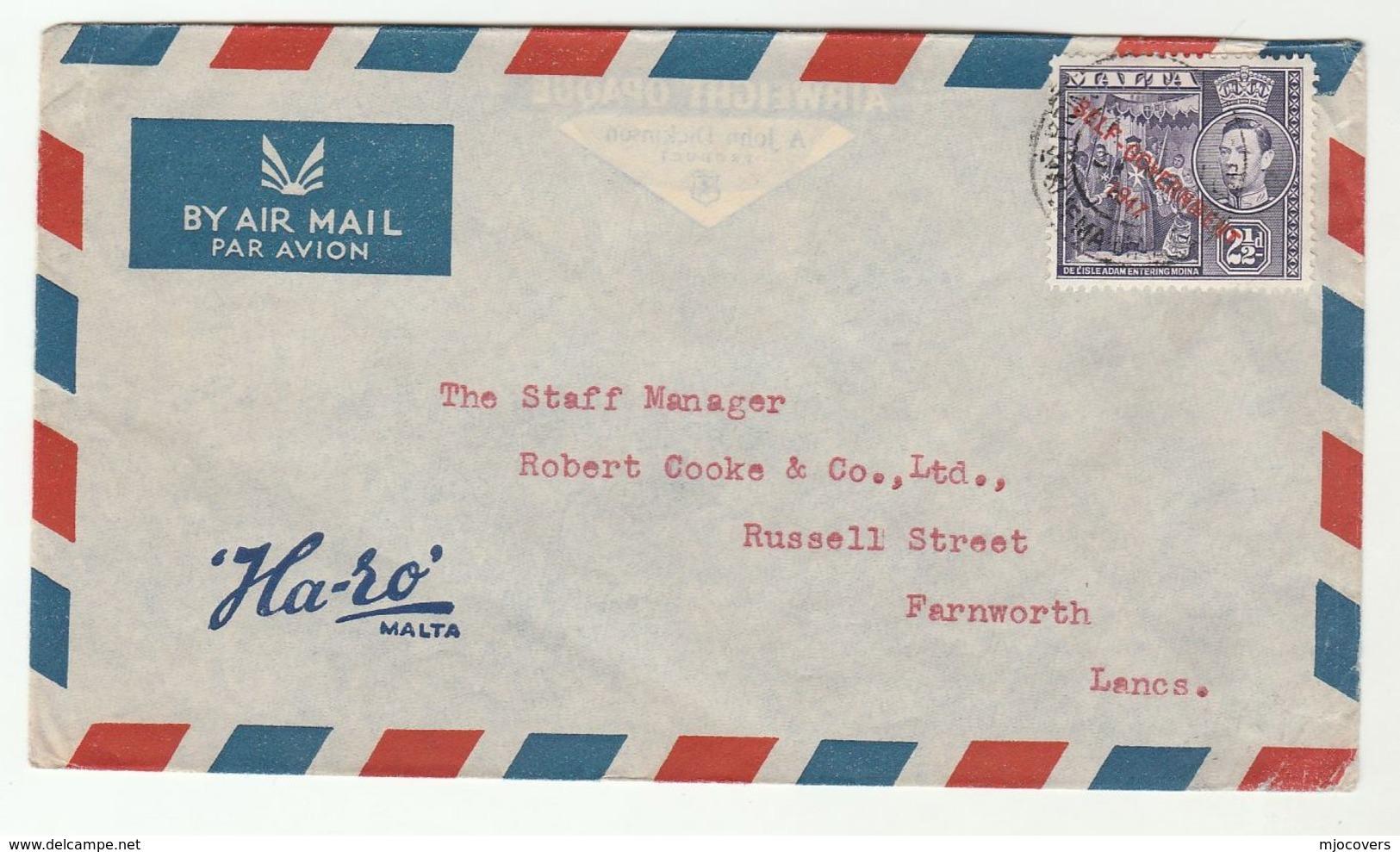 1947 MALTA COVER  HA-SO ADVERT  To GB Stamps - Malte