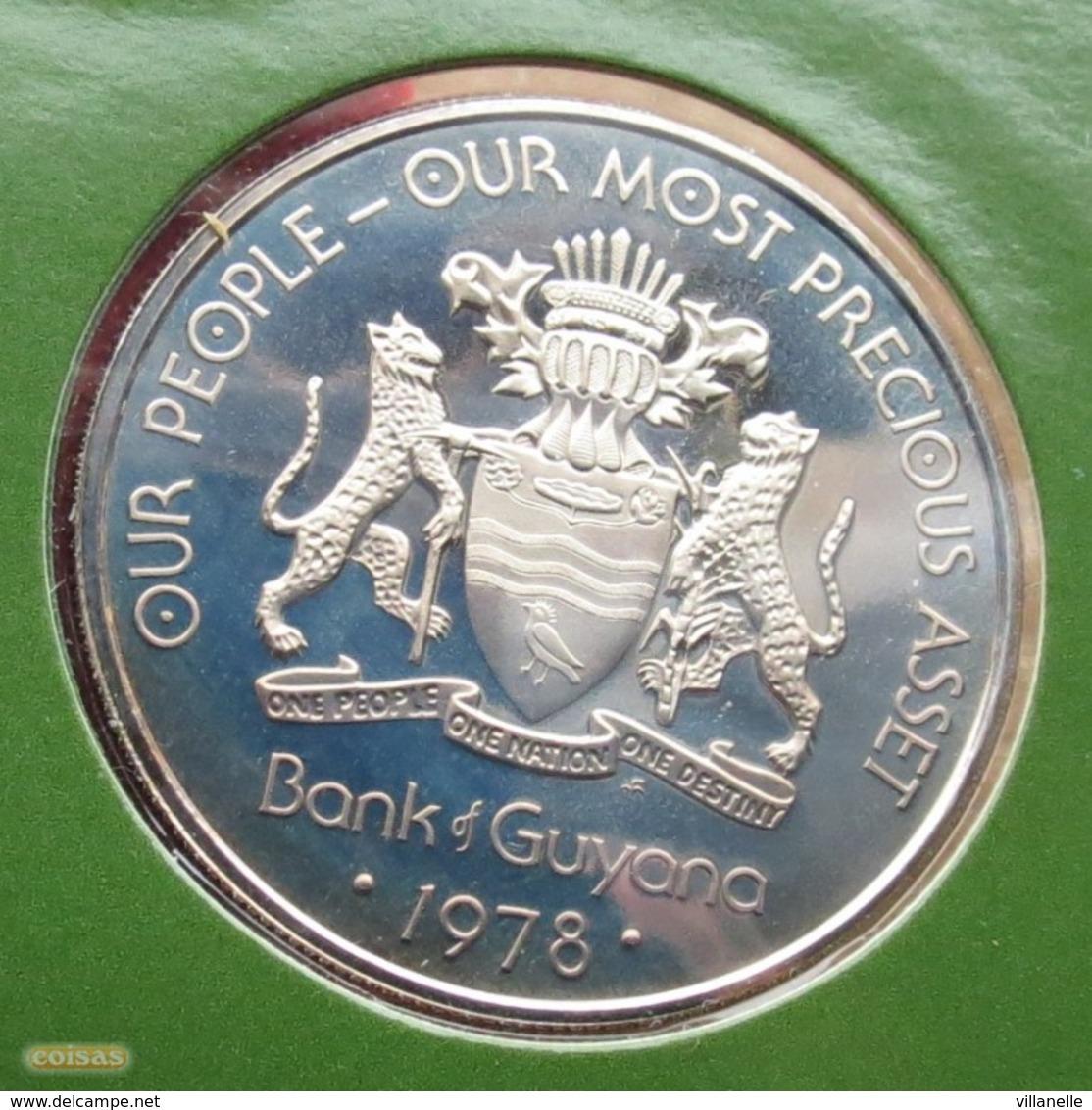 Guyana 1 Dollar 1978 KM# 42 Proof  Guiana Crocodile - Guyana