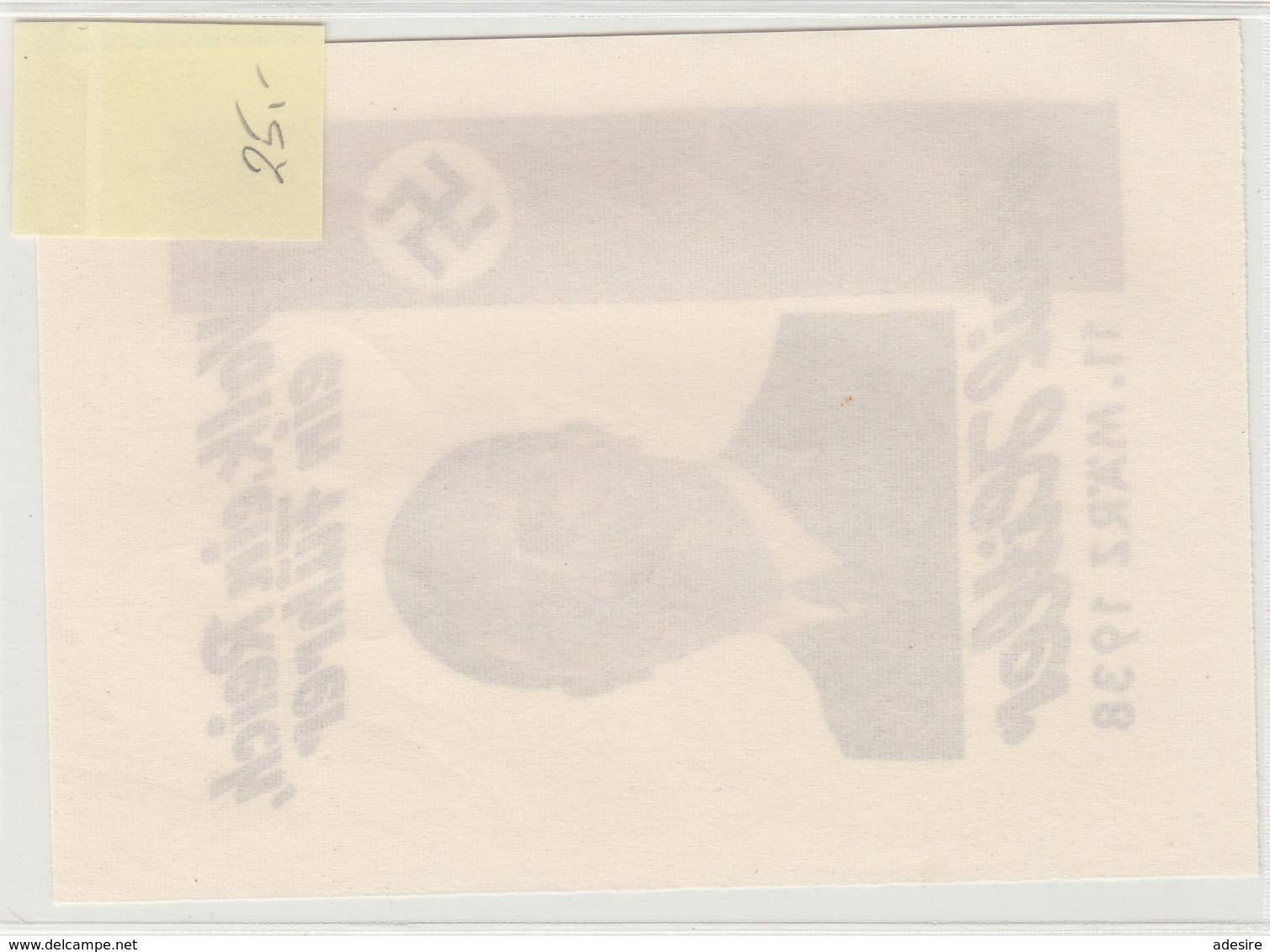 PROPAGANDA Bildpostkarte 1938, HITLER, EIN VOLK … - Personen