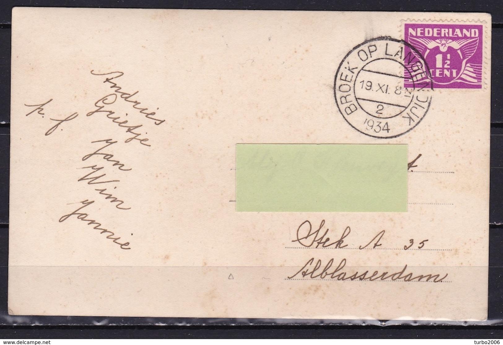 1934 Broek Op Langendijk Z/W Gelopen Naar Alblasserdam - Nederland