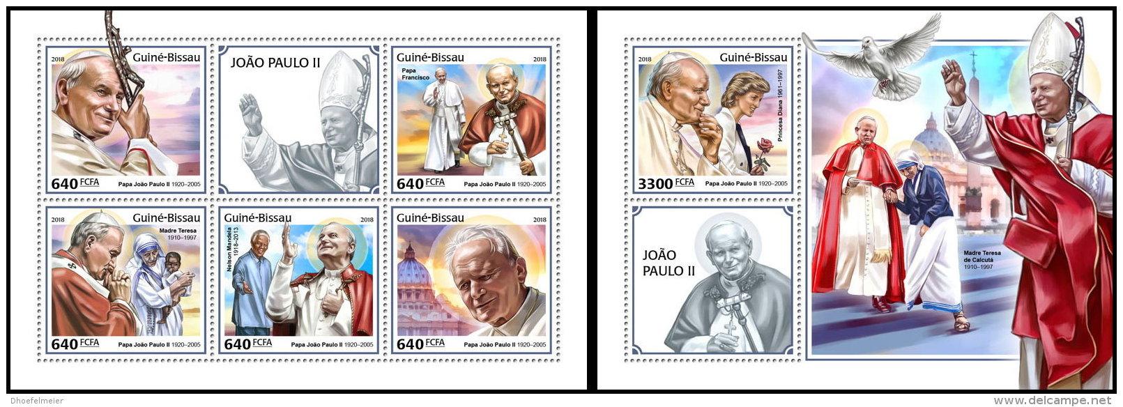 GUINEA BISSAU 2018 MNH** Mother Teresa Mutter Teresa Pope John Paul II. M/S+S/S - IMPERFORATED - DH1825 - Mother Teresa