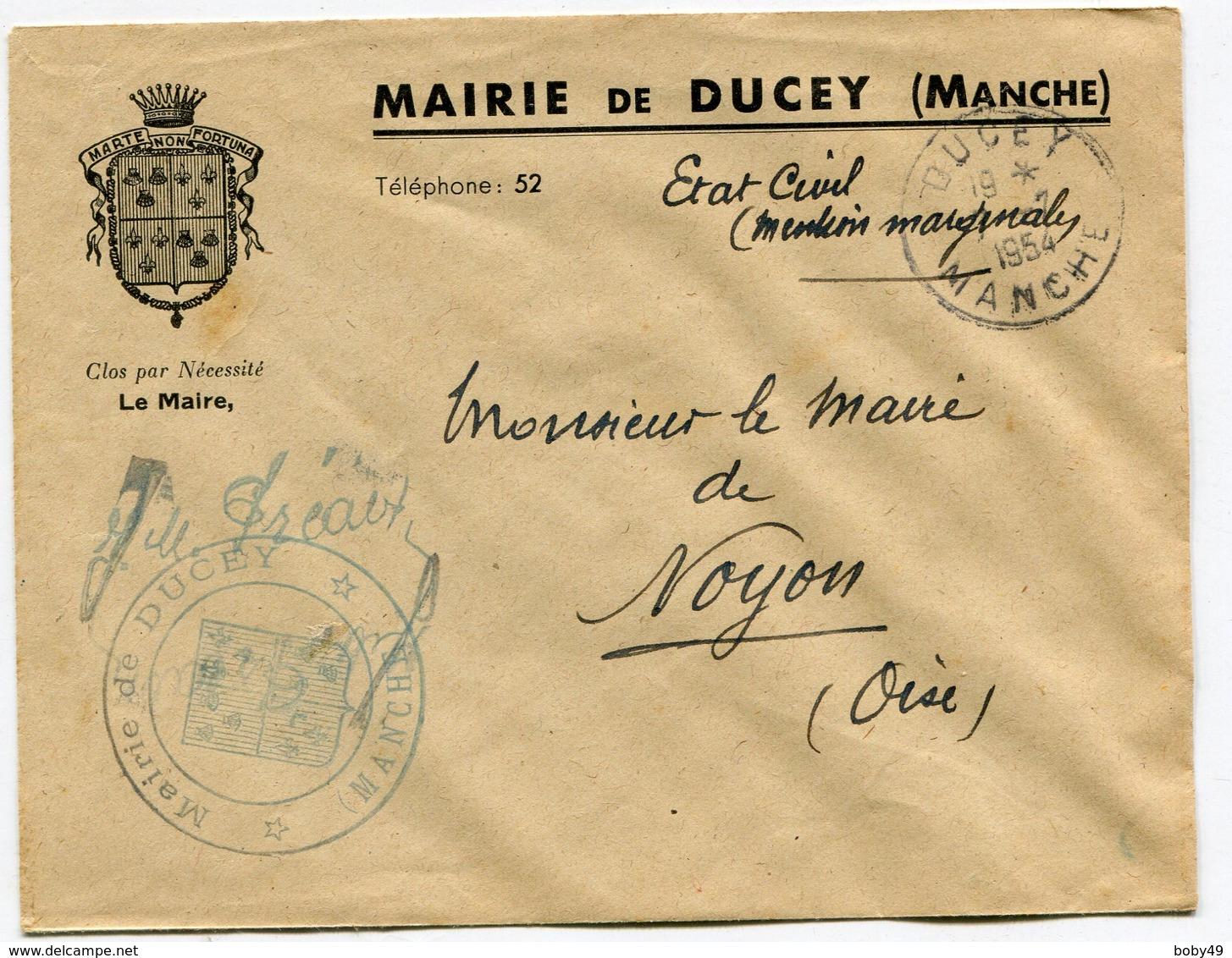 MANCHE De DUCEY Env. à En Tête De La Mairie  Avec Dateur A6  Du 07/07/1954 - Marcophilie (Lettres)