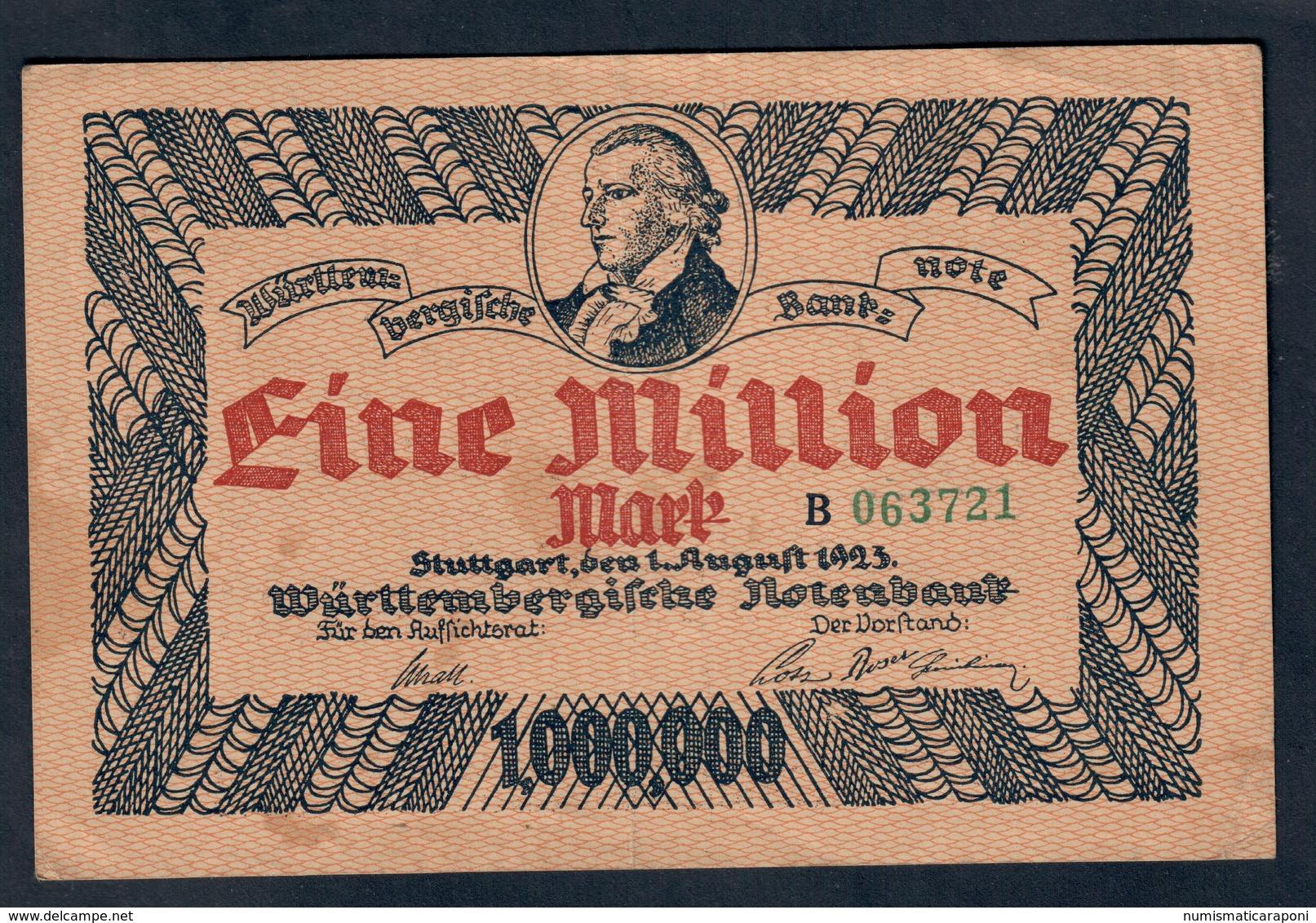GERMANIA ALEMANIA GERMANY Notgeld Stuttgart 1000000 Mark 1923 Lotto 045 - [ 3] 1918-1933 : Repubblica  Di Weimar