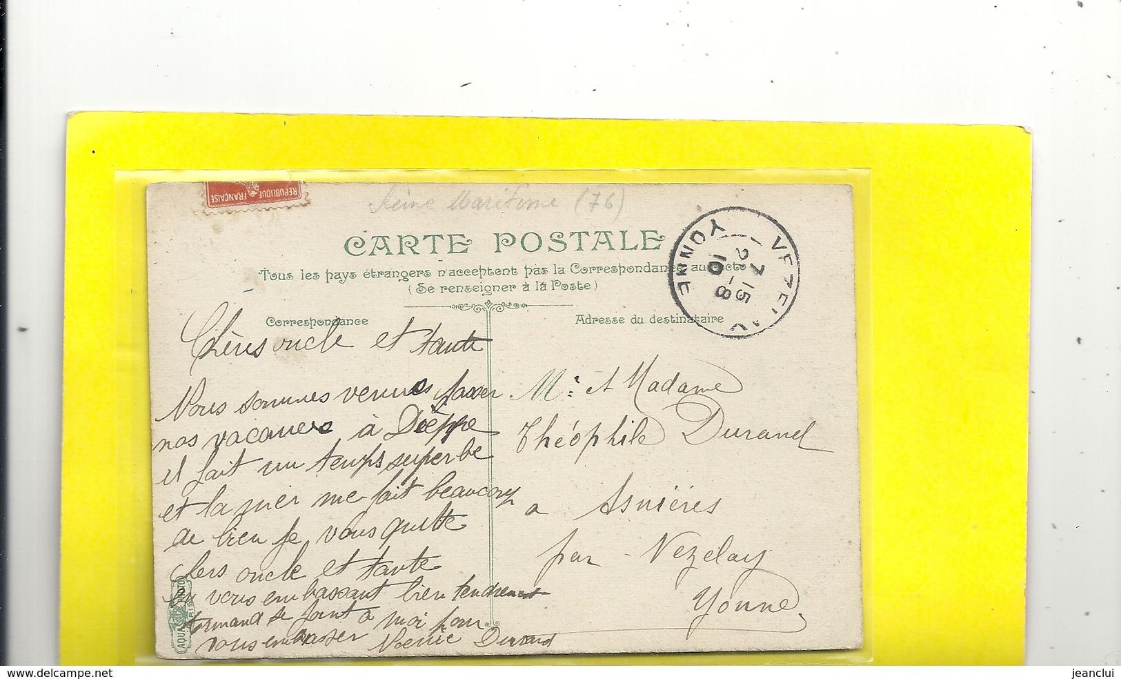DIEPPE . VUE PANORAMIQUE PRISE DU VIEUX-CHATEAU . AFFR A CHEVAL RECTO/VERSO DU 20-8-1910 . 2 SCANES - Dieppe