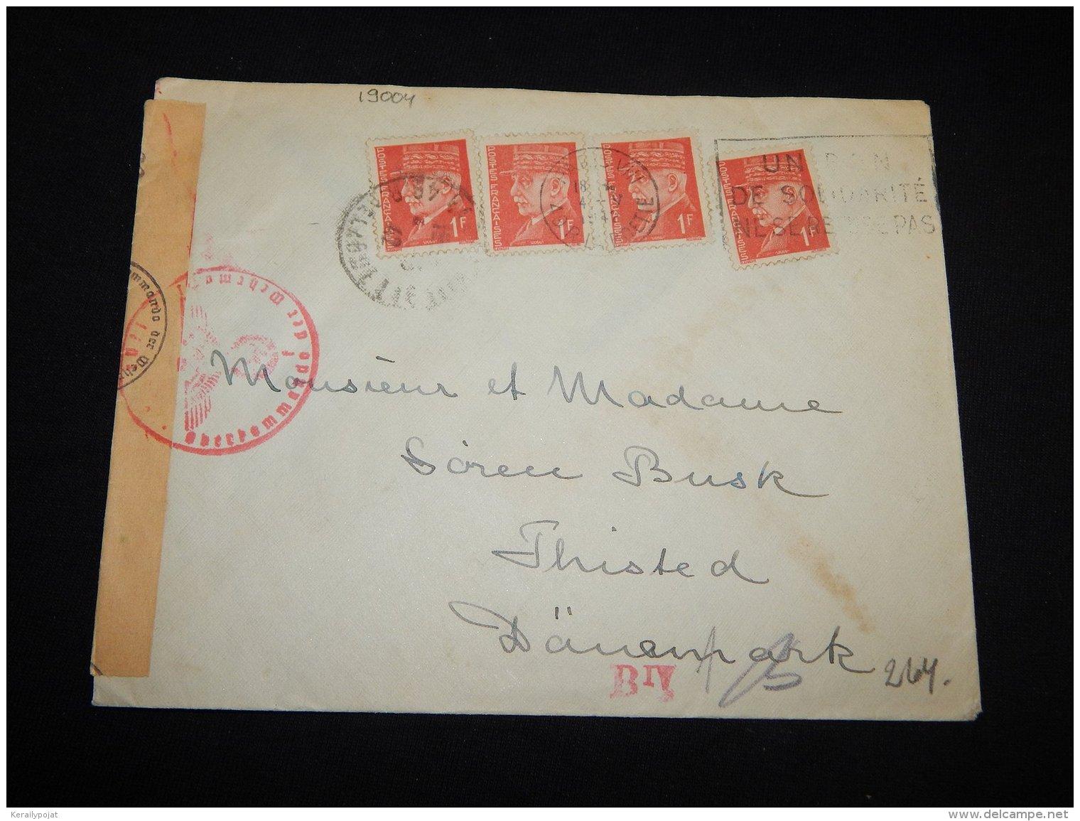 France 1942 Censored Cover To Denmark__(L-19004) - Francia