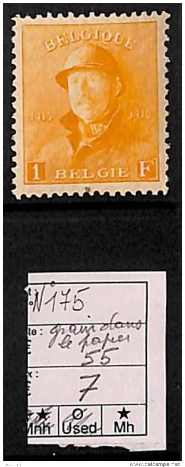 [814443] */Mh-BELGIQUE 1919 - N° 175, 1F Orange, TB Centré, Grain Sous 'L' De België, Familles Royales - 1919-1920  Re Con Casco