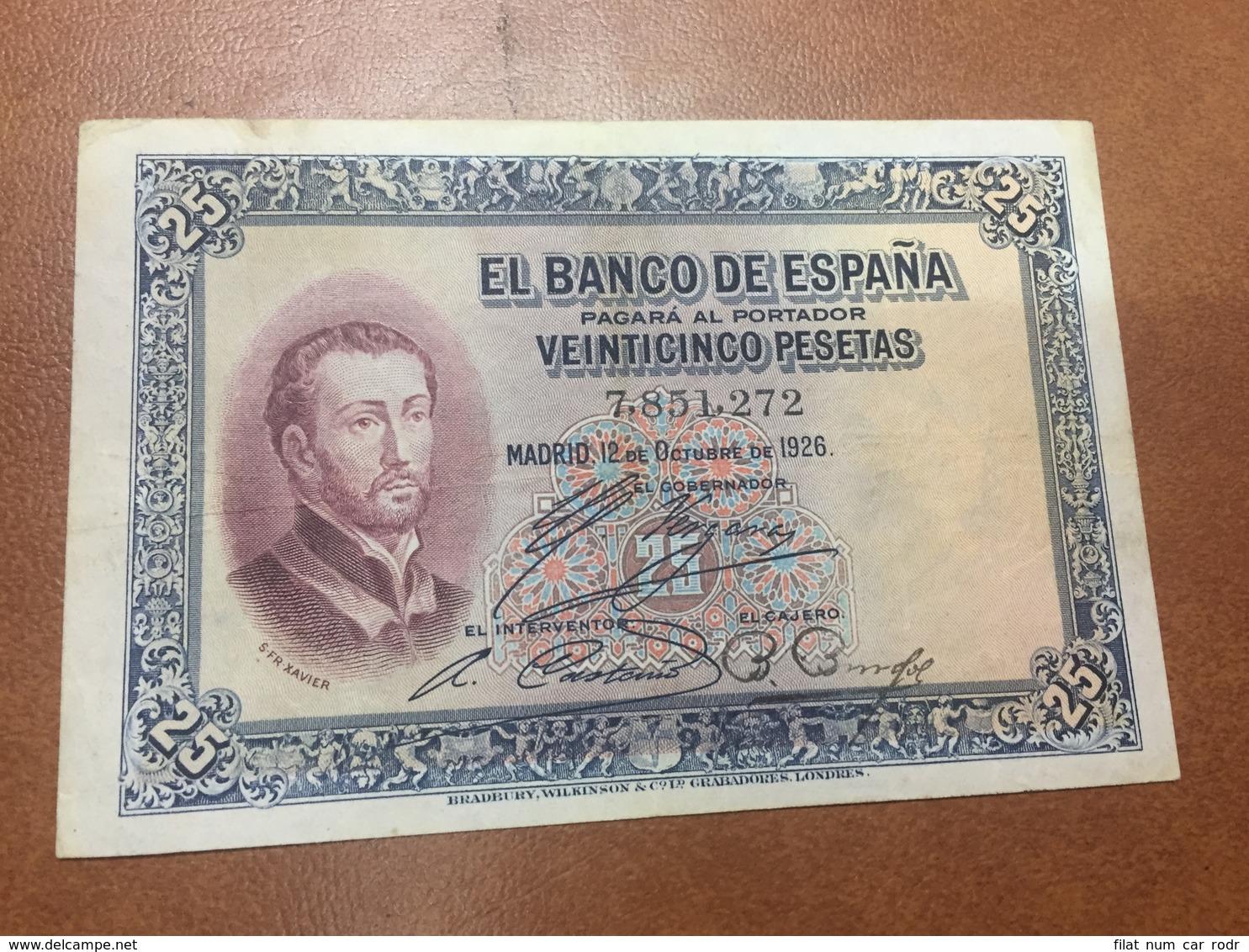 C.R. 25 PESETAS. MADRID 1926. SIN SERIE. MBC - [ 1] …-1931 : Eerste Biljeten (Banco De España)