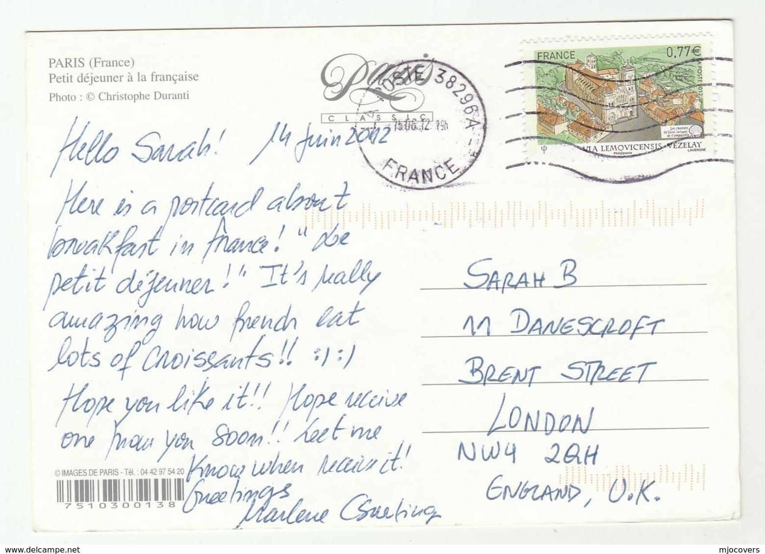 2012 FRANCE COVER Stamps Les Chemins De Saint Jacques De Compostelle (postcard Petite Dejeuner Paris) To GB - France