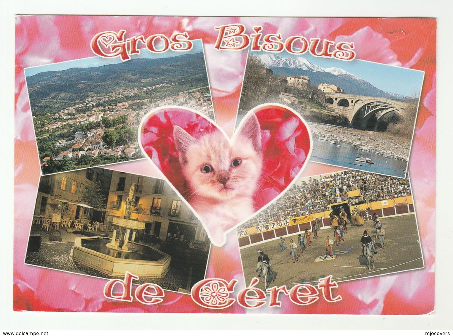2014 FRANCE Stamps COVER  (postcard Cerat, Cat , Bridge, Horse, Fountain) To GB - France