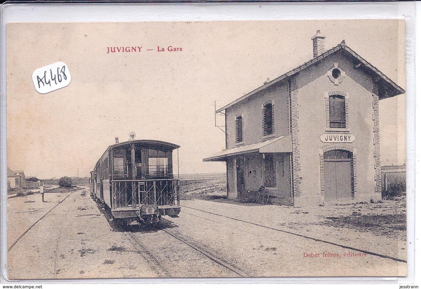 JUVIGNY- LA GARE- L ARRIERE DU TRAIN -LIGNE CBR - Autres Communes