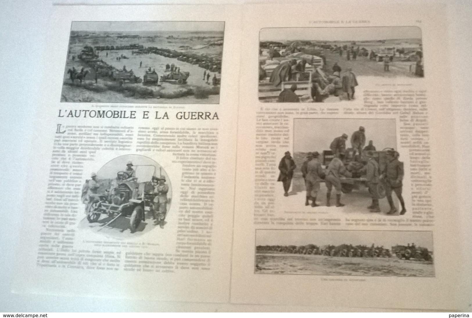 L'AUTOMOBILE E LA GUERRA - U. TEGANI 1914 ART. RITAGLIATO DA GIORNALE - Vieux Papiers