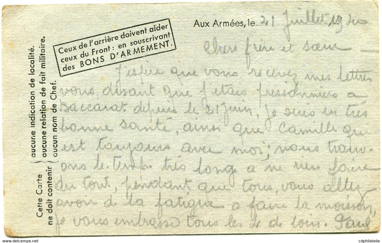 """FRANCE CARTE POSTALE MILITAIRE AVEC GRIFFE """"KRIEGS-GEFANGENENPOST GEPRUFT BACCARAT 2"""" DEPART BACCARAT 21-7-40........... - Marcophilie (Lettres)"""