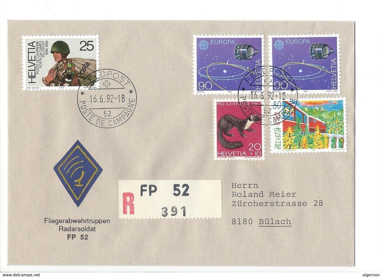 21166 - Militaria Suisse  Cover Feldpost Radarsoldat FP 52 R 391 Pour 8180 Bülach 16.06.1992 - Suisse
