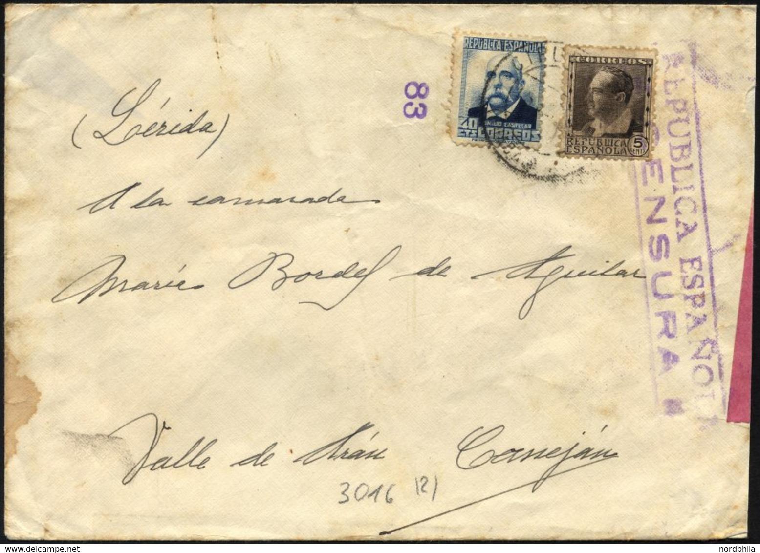SPANIEN 618,624 BRIEF, 1937, 5 Und 40 C. Berühmte Spanier Mit Violettem Republikanischem Zensurstempel Auf Feldpostbrief - Spain