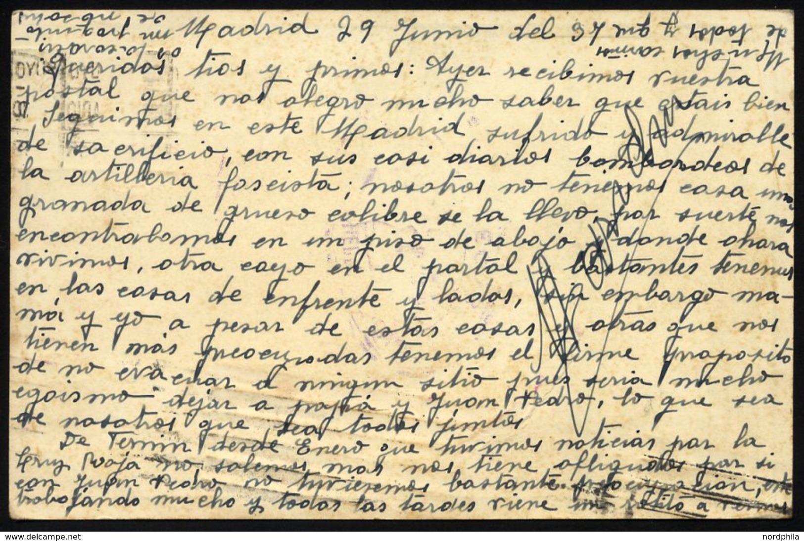 SPANIEN 636/7 BRIEF, 1937, 10 Und 15 C. Berühmte Spanier Mit Violettem Zensurstempel Und Ovalem Stempel Der Linken Jugen - Spain
