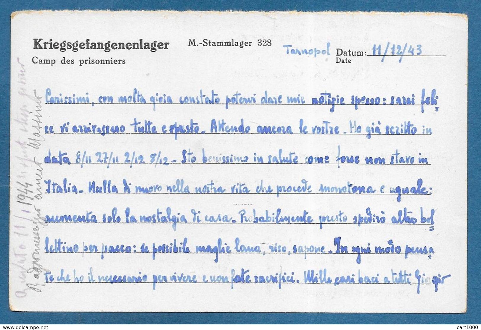 CARD 1943 PRIGIONIERI DI GUERRA INTERNIERTENPOST STALAG 328 LEMBERG PRISONNER OF WAR - Documenti