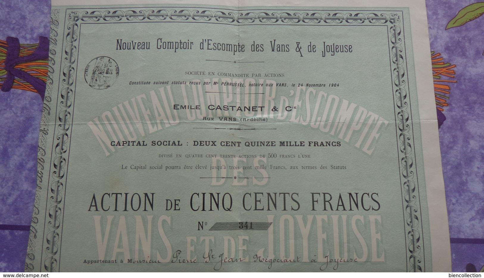 Nouveau Comptoir D'escompte Des Vans Et De Joyeuse (Ardèche) Action De 500Francs; Tirage 430 - Banque & Assurance