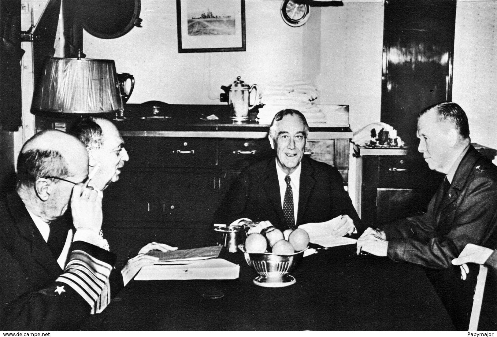 WW2 - Roosevelt Avec Les Amiraux King Et Leahy Et Le Général Marshall - 1939-45