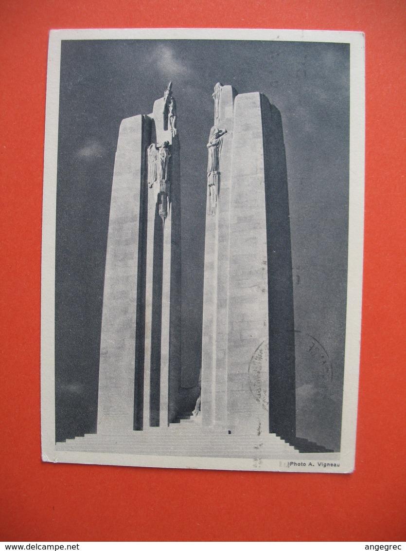Carte Entier Postal Canadian Mémorial Avec Cachet Monument De Vimy - Vimy-France  1936 - Monuments