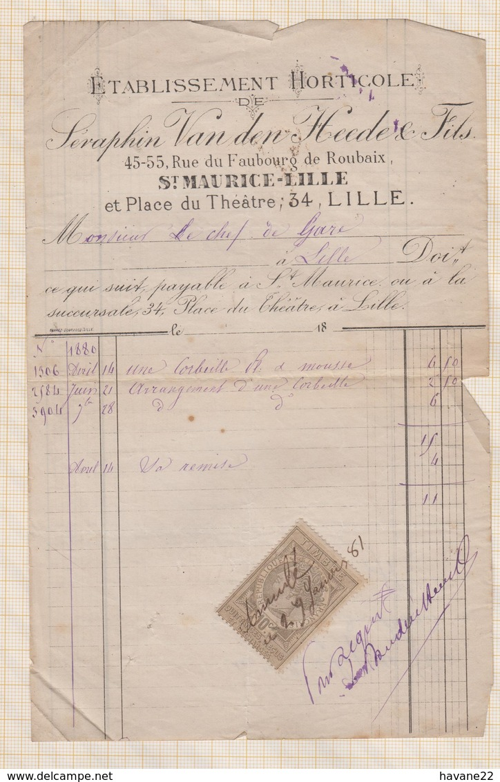 8/21 Lettre Facture ETS HORTICOLE SERAPHIN VAN DEN HEEDE ST MAURICE LILLE /1881 - 1800 – 1899