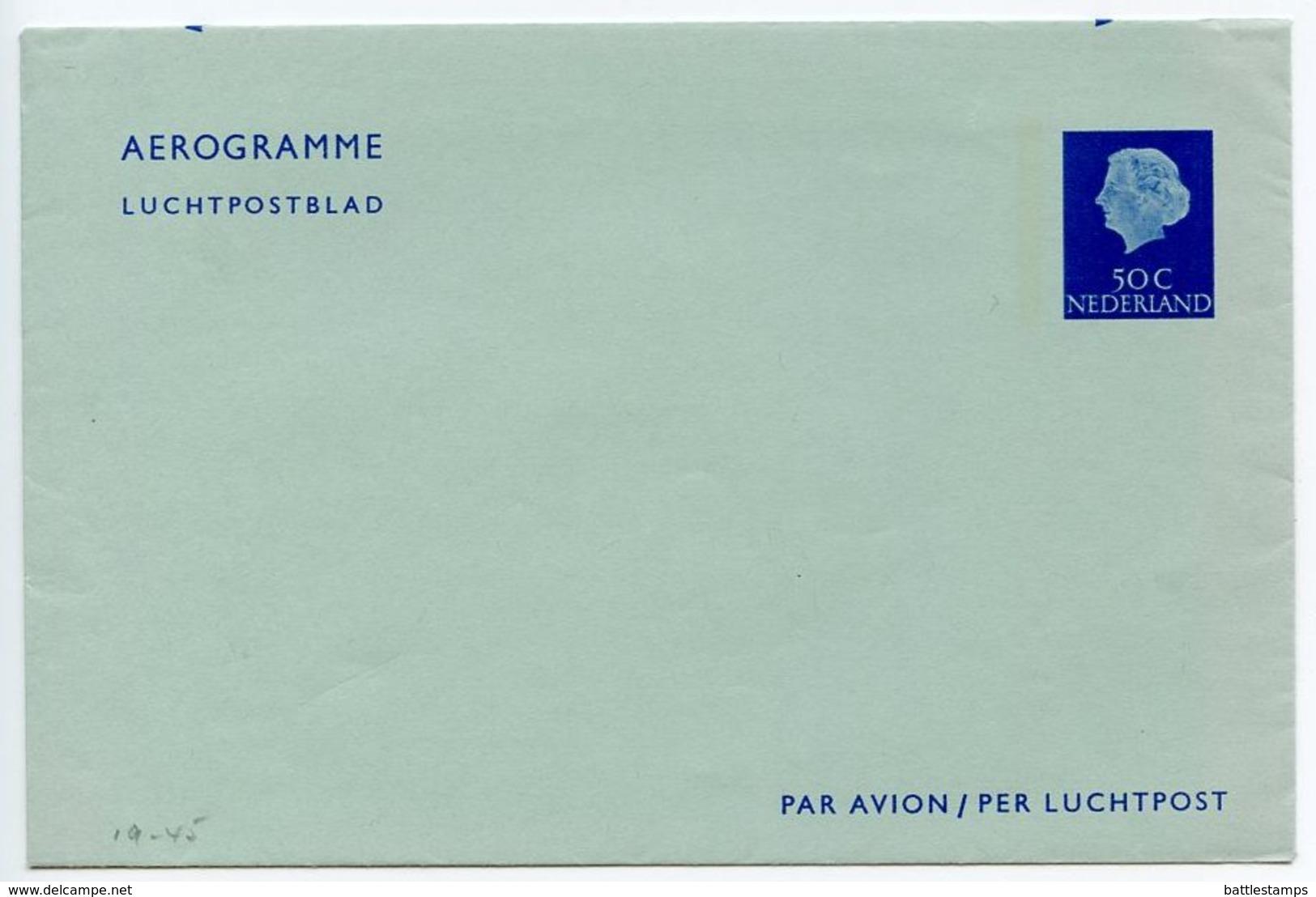 Netherlands 1960's Mint 50c. Queen Juliana Aerogramme - Postal Stationery