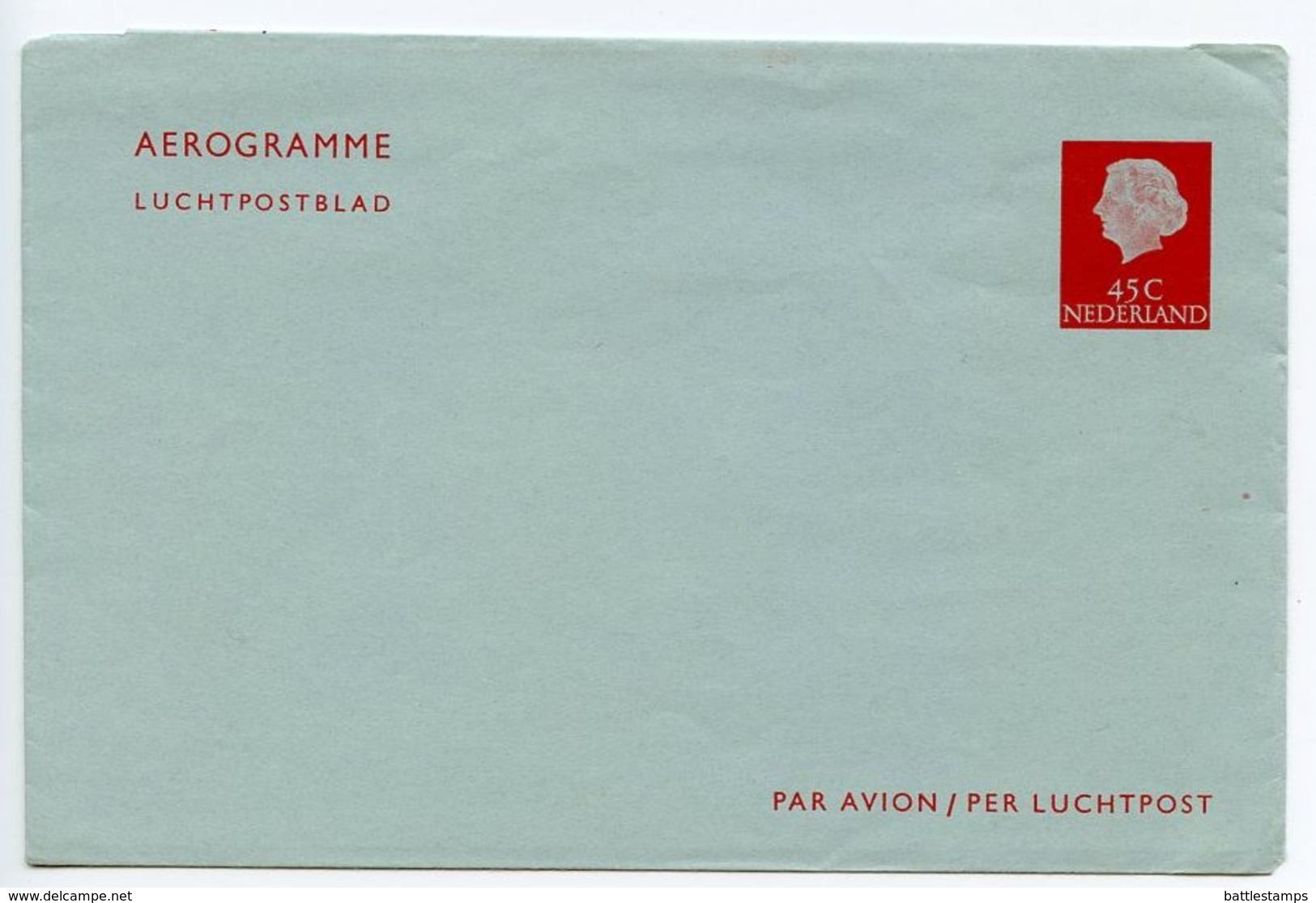 Netherlands 1960's Mint 45c. Queen Juliana Aerogramme - Postal Stationery