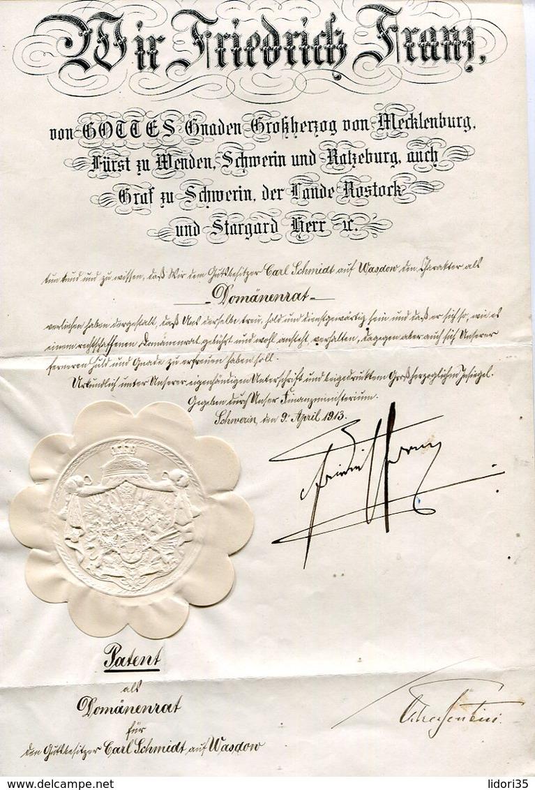Patent Mit Trockensiegel / 1913 / ..... Friedrich Franz ...... Grossherzog Von Mecklenburg (11726-30) - Historische Dokumente