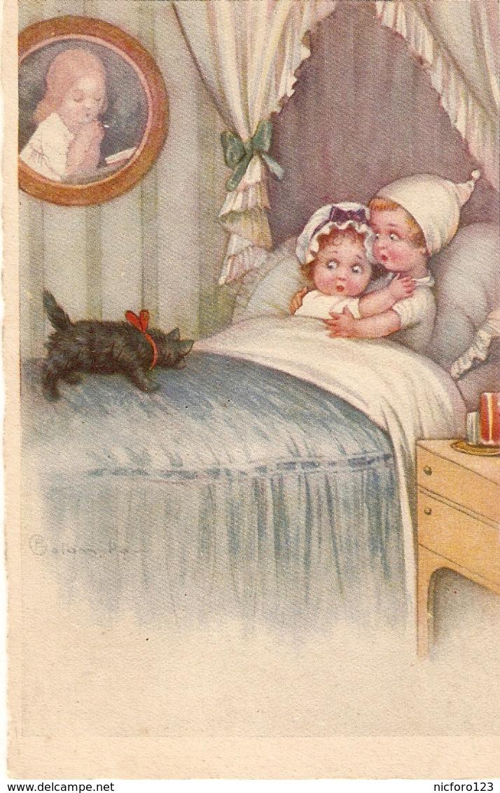 """Children In Bed Freightened By Black Cat"" Humorous Antique Italian Postcard. Artist Signed - Tarjetas Humorísticas"