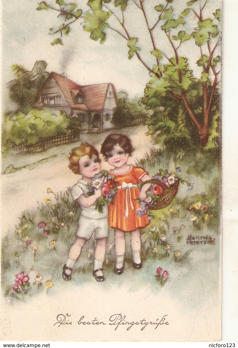 """Hannes Petersen. Two Weet Little Girls With Flowers In Fields"" Nice Antique German Postcard - Ilustradores & Fotógrafos"