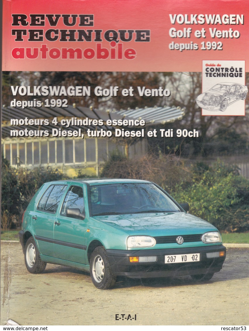Rare Revue Technique Volkswagen Golf Et Vento 1992 - Voitures
