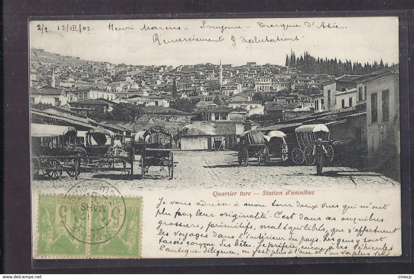 CPA TURQUIE - SMYRNE - Quartier Turc - Station D'Omnibus - TB PLAN Place Attelages + Jolie Oblitération 1902 - Turquie