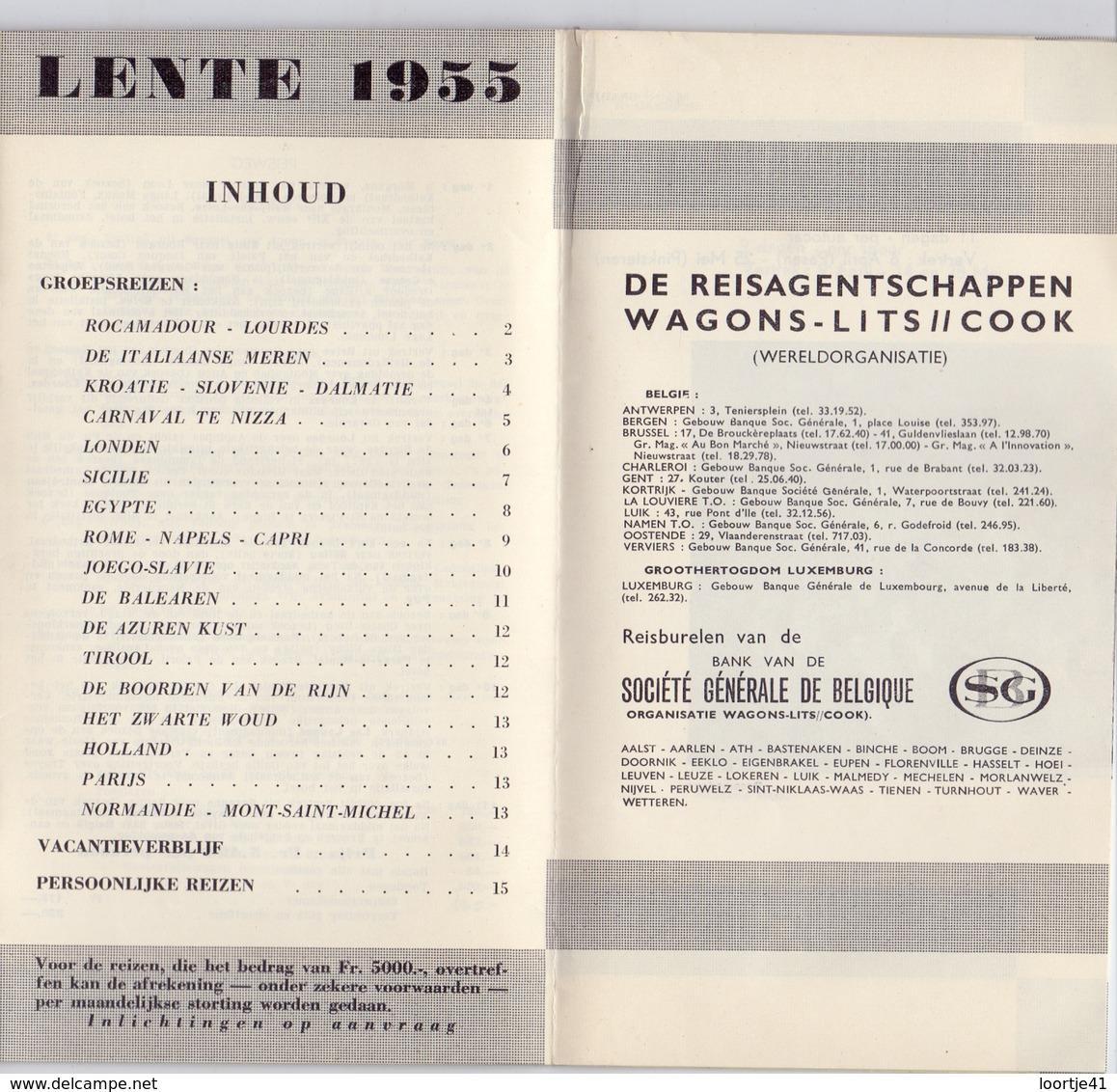 Brochure Dépliant Faltblatt Toerisme Tourisme -Lente 1955 - Wagons Lits - Cook - Dépliants Touristiques