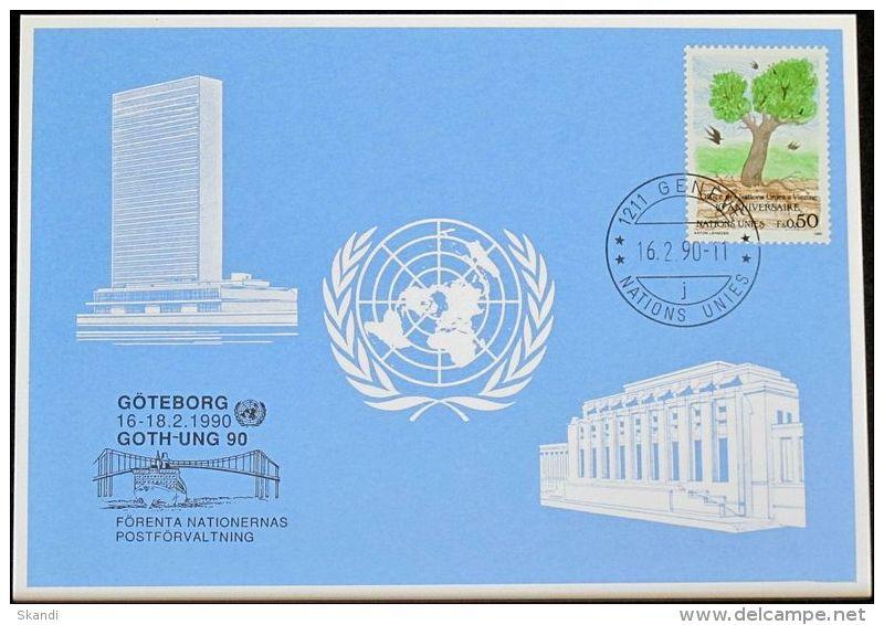 UNO GENF 1990 Mi-Nr. 201 Blaue Karte - Blue Card - Briefe U. Dokumente